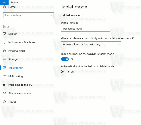 Tablet Mode Settings Page