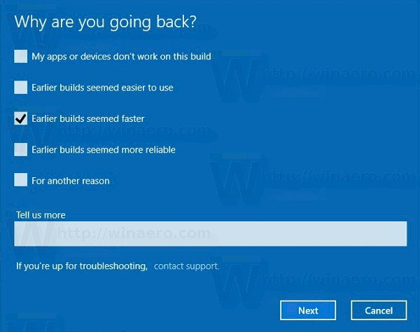 Uninstall Windows 10 Creators Update Reason Dialog