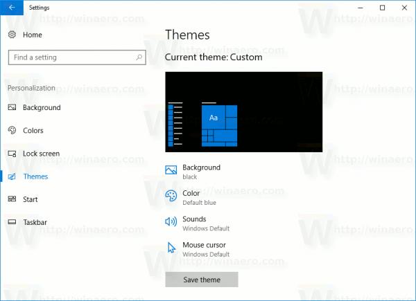 Windows 10 Creators Update Settings Themes