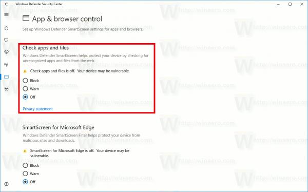 Windows 10 Disable SmartScreen For Desktop Apps