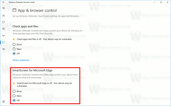 Windows 10 Disable SmartScreen For Edge