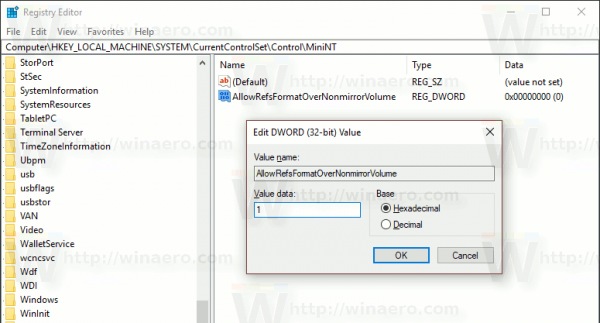Windows 10 Enable ReFS