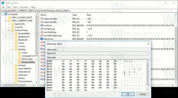 Windows 10 MenuFont