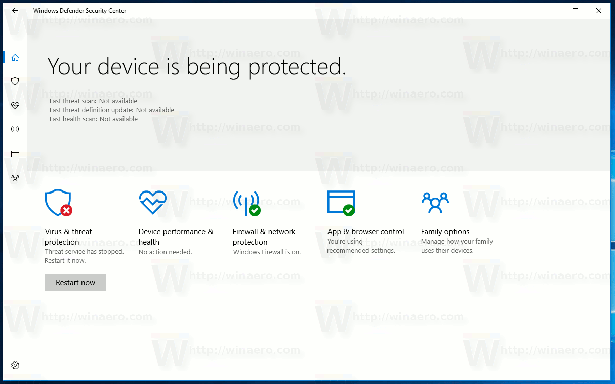 Windows 10 Security Center