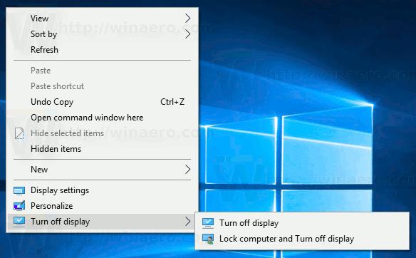 Windows 10 Turn Off Display Context Menu