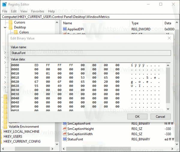 Windows 10 Change Tooltip Font Registry