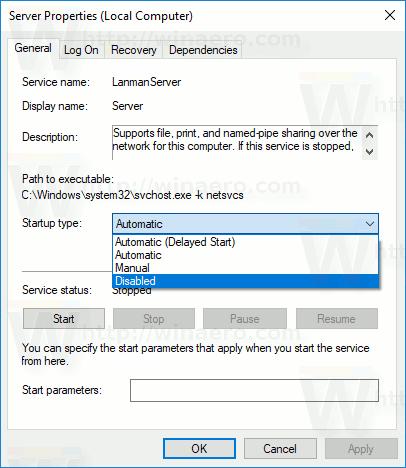Windows 10 Disable Service