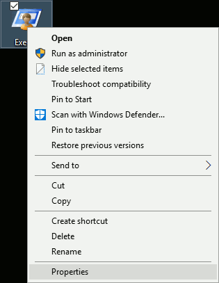 Windows 10 Exe File Context Menu
