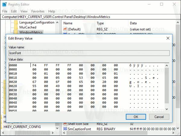 Windows 10 Iconfont Value