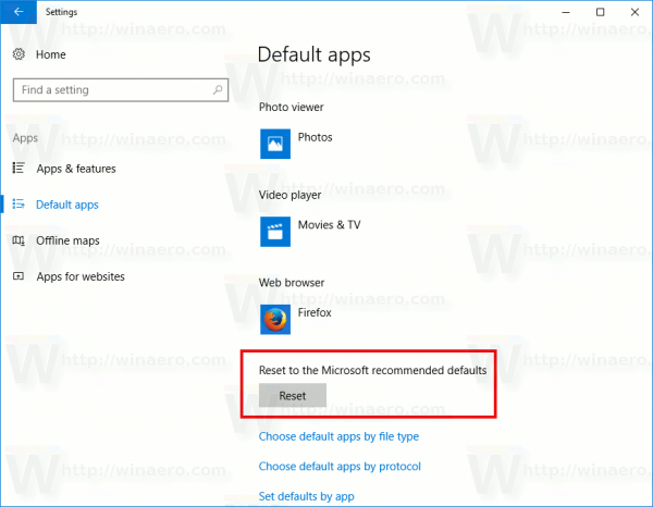 Windows 10 Reset Default Apps