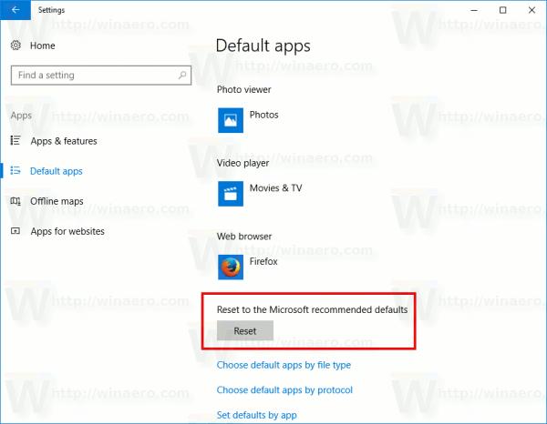 Windows 10 Reset Default Apps