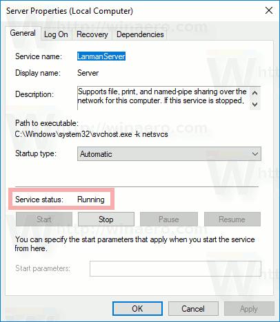 Windows 10 Service Status