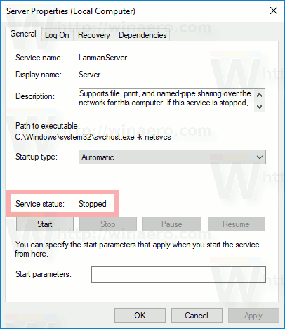 Windows 10 Service Stopped