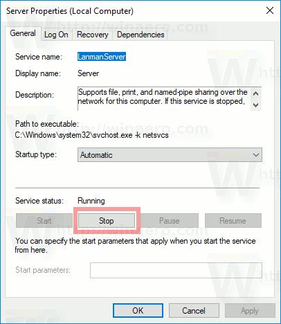 Windows 10 Stop Service Button