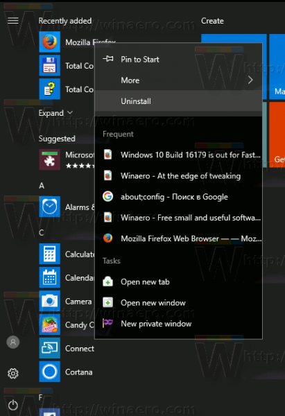 Windows 10 Uninstall Start Menu