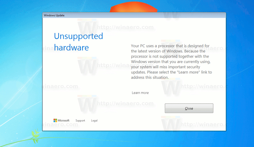 Windows 7 Unsupported Hardware