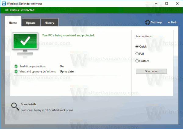 Windows Defender UI