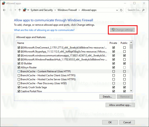 Windows Firewall Change Settings Button