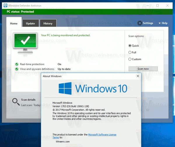Get classic windows defender in windows 10 creators update for Window defender update
