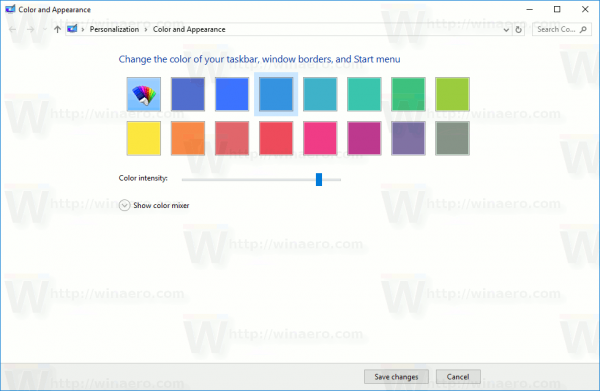 Classic Color And Appearance Window