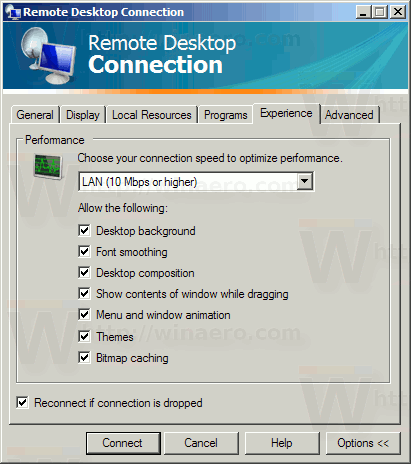 Mstsc Software Experience Tab