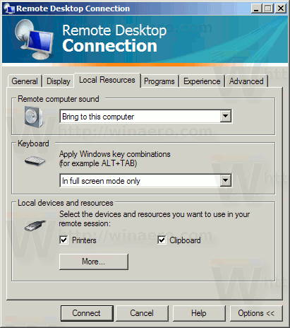 Mstsc Software Local Resources Tab