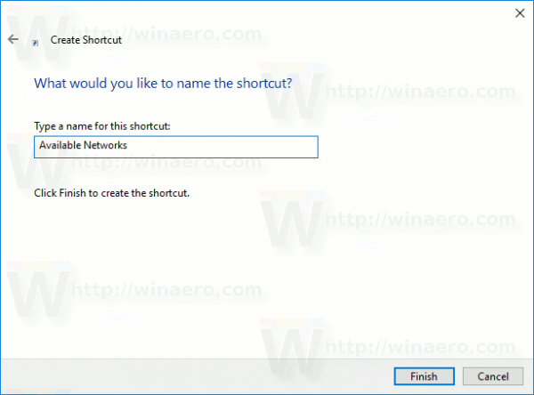 Name Available Networks Shortcut