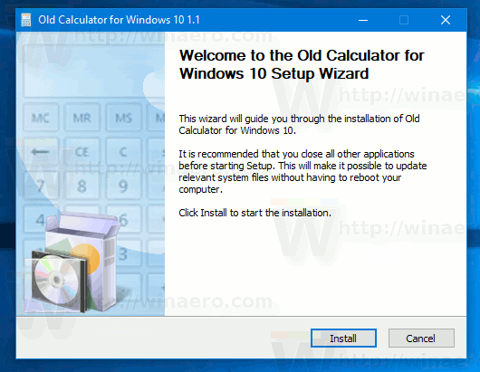 Classic Calculator Installer Main Window