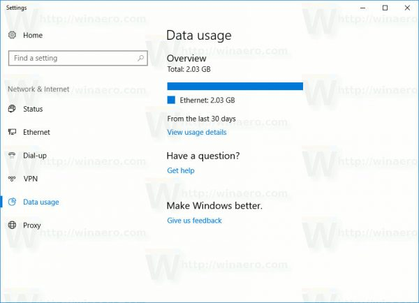 Data Usage Overview Windows 10