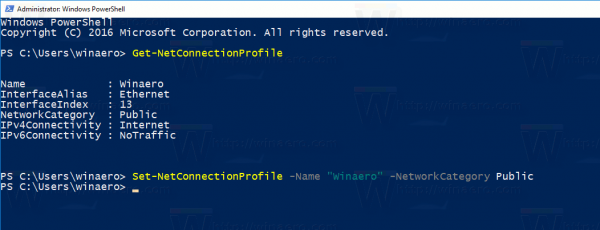 Set Network Type With PowerShell