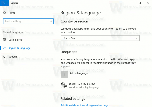 Settings Region And Language