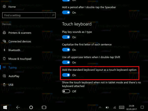 Standard Layout In Touch Keyboard In Windows 10