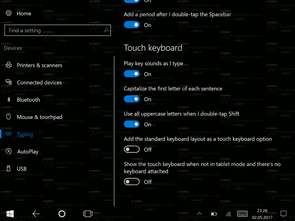 Touch Keyboard Options Windows 10