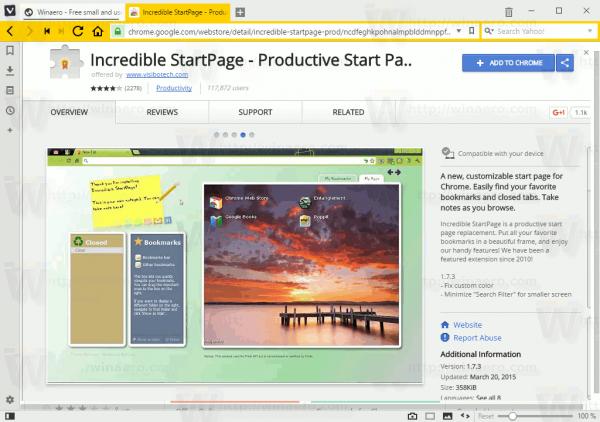 Vivaldi Inc Start Page