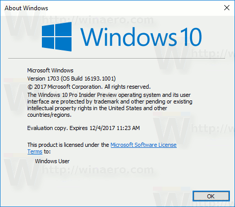 Windows 10 Build 16193 Winver