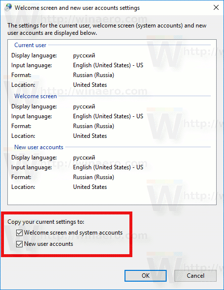 Windows 10 Copy Region Language Checkboxes