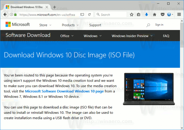 Windows 10 Download ISO Images Directly