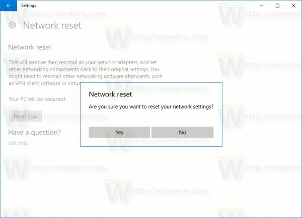 Windows 10 Network Reset Confirmation