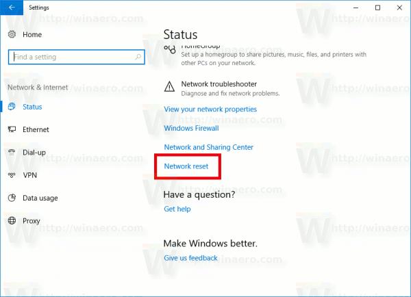 Windows 10 Network Reset Link