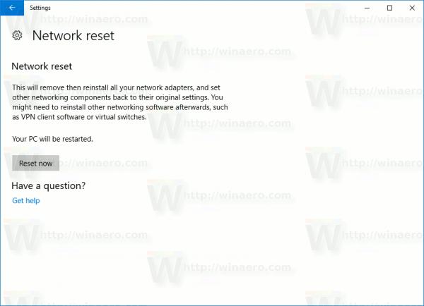 Windows 10 Network Reset Now Button