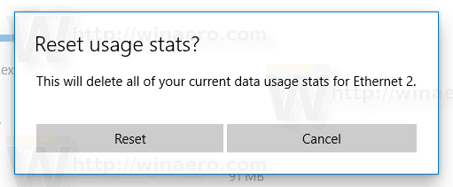 Windows 10 Reset Data Usage For Network Confirmation