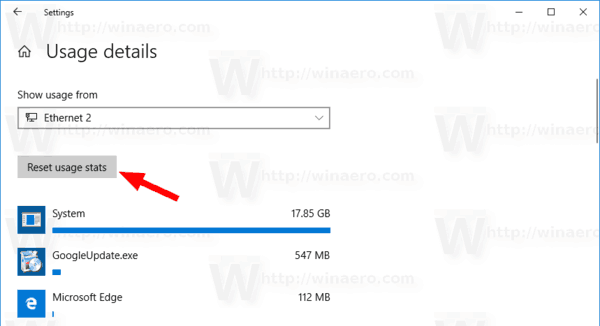 Windows 10 Reset Data Usage For Network