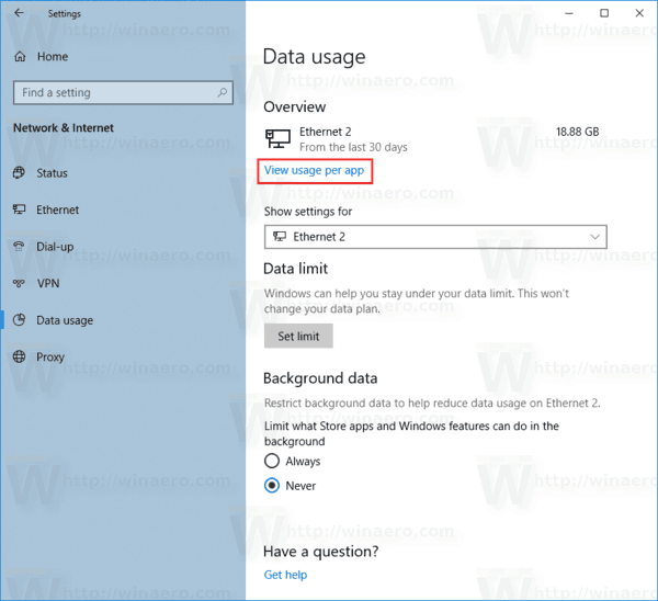 Windows 10 Reset Data Usage View Link