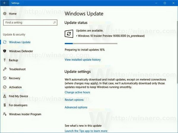Windows 10 Build 16188