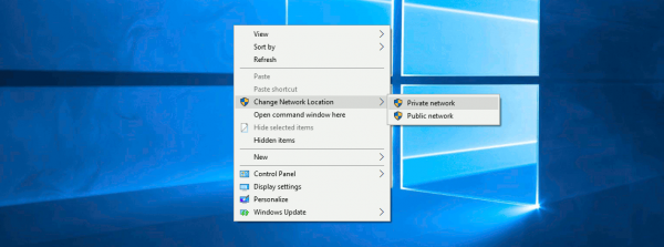 Windows 10 Change Network Location Context Menu