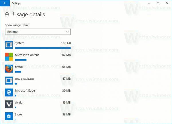 Windows 10 Datausage Per App