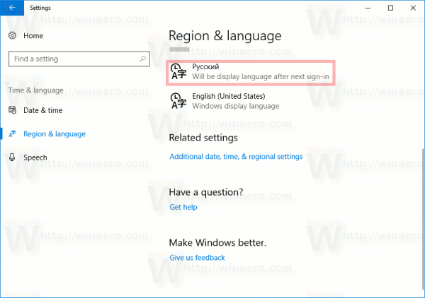 language pack for windows 10 1709