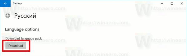 Windows 10 Download Language Pack Button