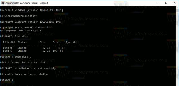 Windows 10 Make Disk Readonly