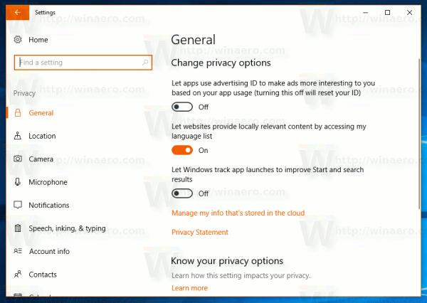 Windows 10 Settings Privacy General